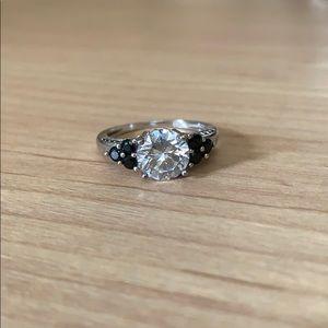 Sterling Silver Zirconia Ring w/ Black Stones